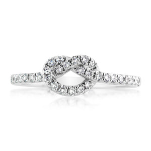 Diamond Love Knot Ring White Gold