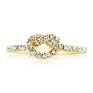 Diamond Love Knot Ring Yellow Gold