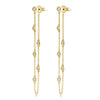 Diamond Bezel Chain Earrings Yellow Gold