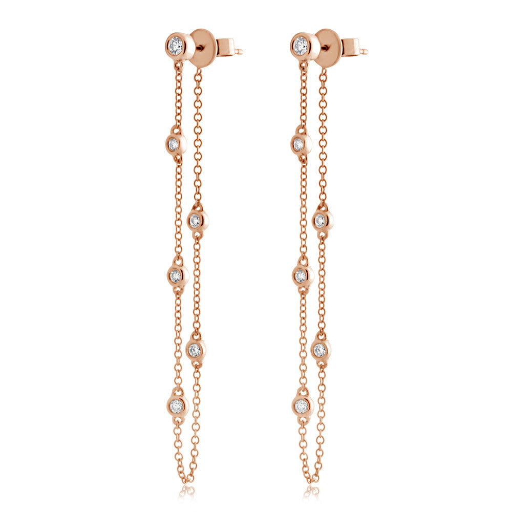Diamond Bezel Chain Earrings Rose Gold