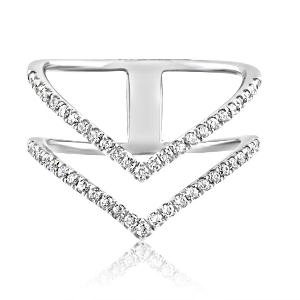 Diamond Double Chevron Ring White Gold