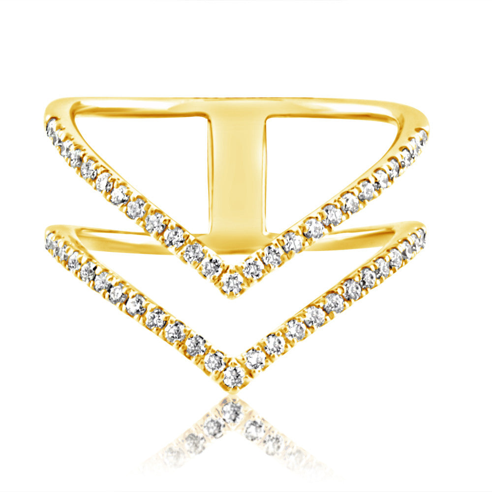 Diamond Double Chevron Ring Yellow Gold