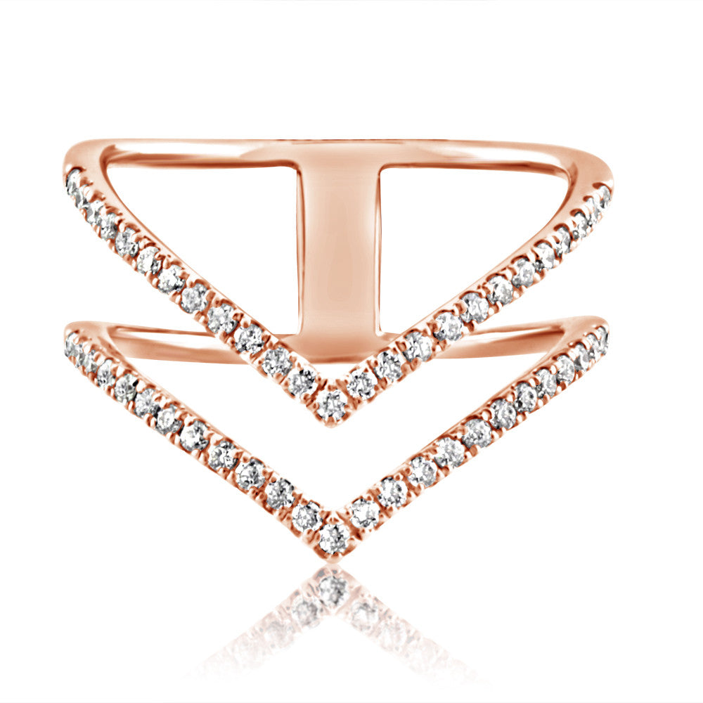 Diamond Double Chevron Ring Rose Gold