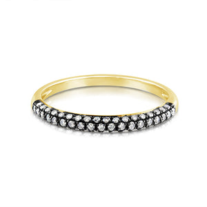 Pave Diamond Dome Band Ring Yellow Gold