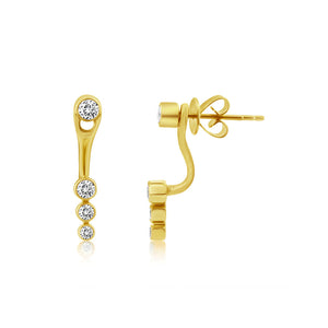 Bezel Set Diamond Ear Jacket Earrings Yellow Gold