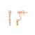 Bezel Set Diamond Ear Jacket Earrings Rose Gold