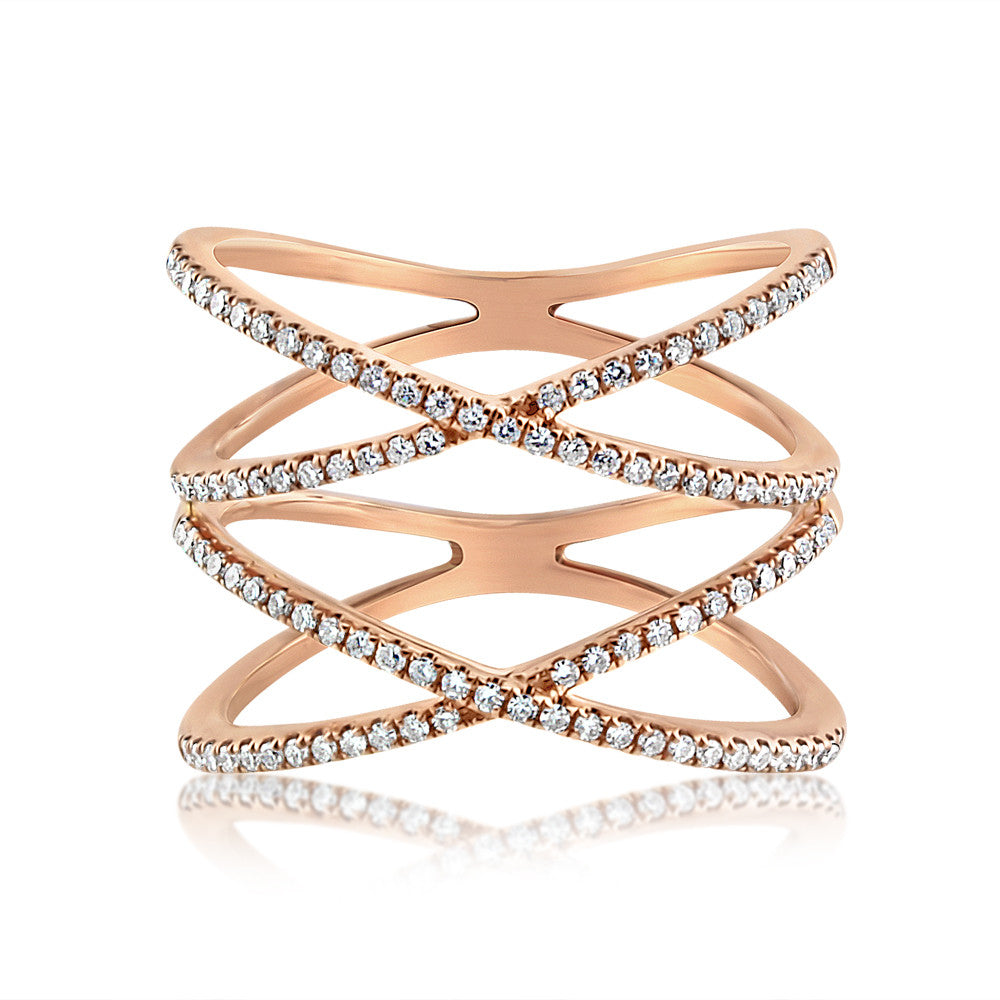 Diamond Double X Ring Rose Gold