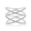 Diamond Double X Ring White Gold