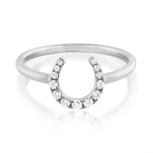 Diamond Horseshoe Ring White Gold