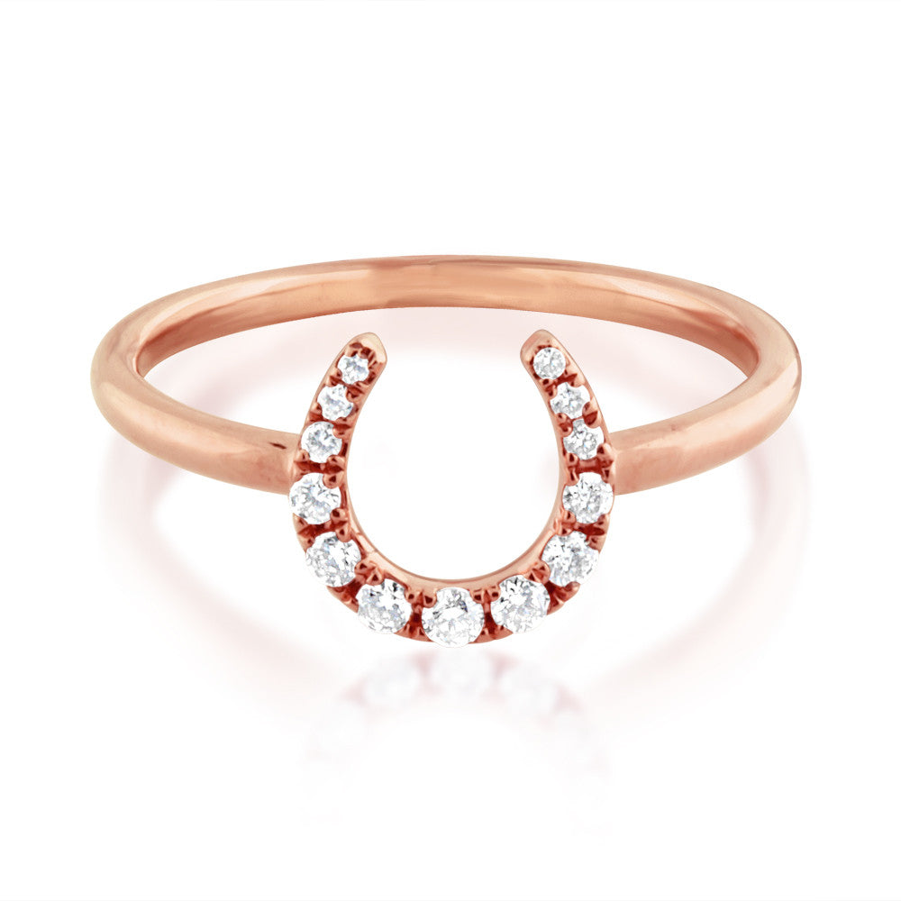 Diamond Horseshoe Ring Rose Gold