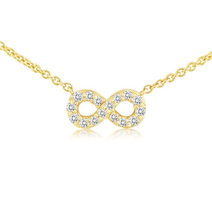Mini Infinity Diamond Necklace Yellow Gold
