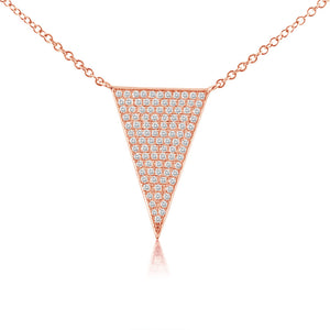 Diamond Triangle Necklace Rose Gold