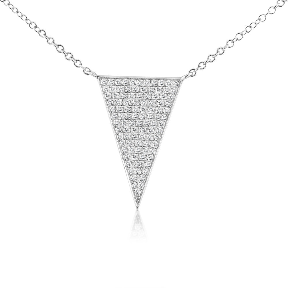 Diamond Triangle Necklace White Gold
