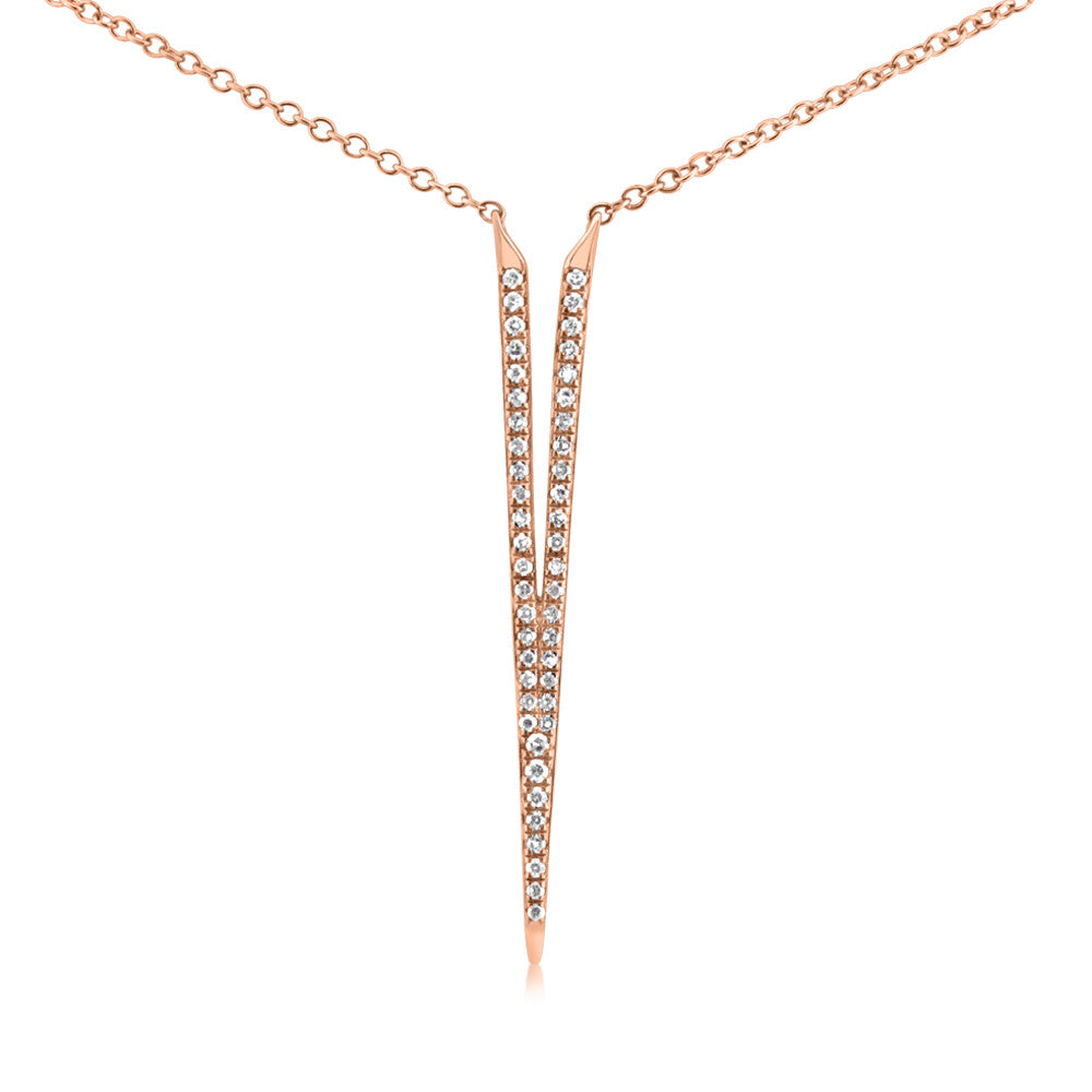 Diamond Dagger Necklace Rose Gold