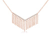 Diamond Chevron Fringe Necklace Rose Gold