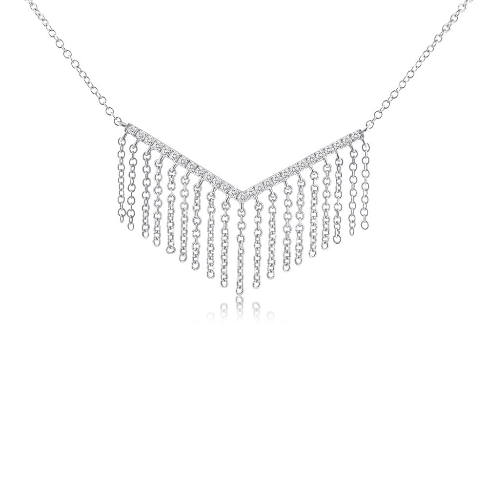 Diamond Chevron Fringe Necklace White Gold