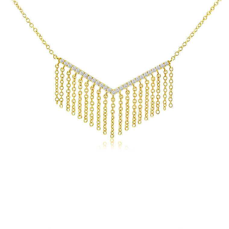Diamond Chevron Fringe Necklace Yellow Gold