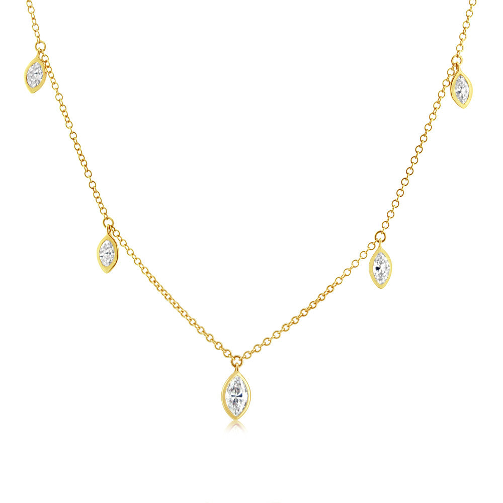 Marquise Diamond Necklace Yellow Gold