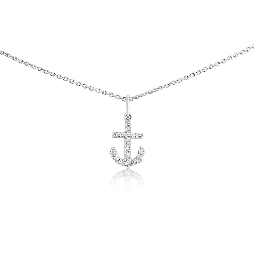 Small Diamond Anchor Necklace White Gold