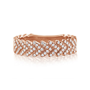 Diamond Chevron Ring Rose Gold
