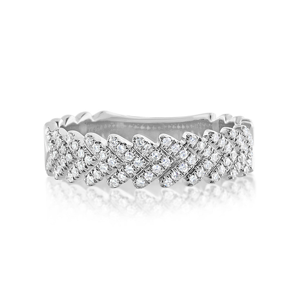Diamond Chevron Ring White Gold