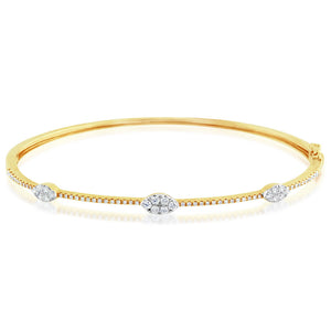 Diamond Marquise Bangle Yellow Gold