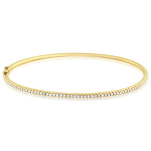 Thin Diamond Bangle Yellow Gold