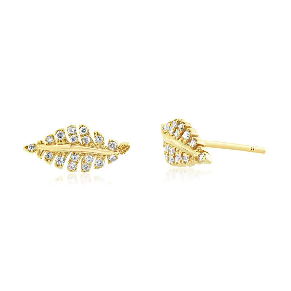 Diamond Leaf Earrings Yellow Gold