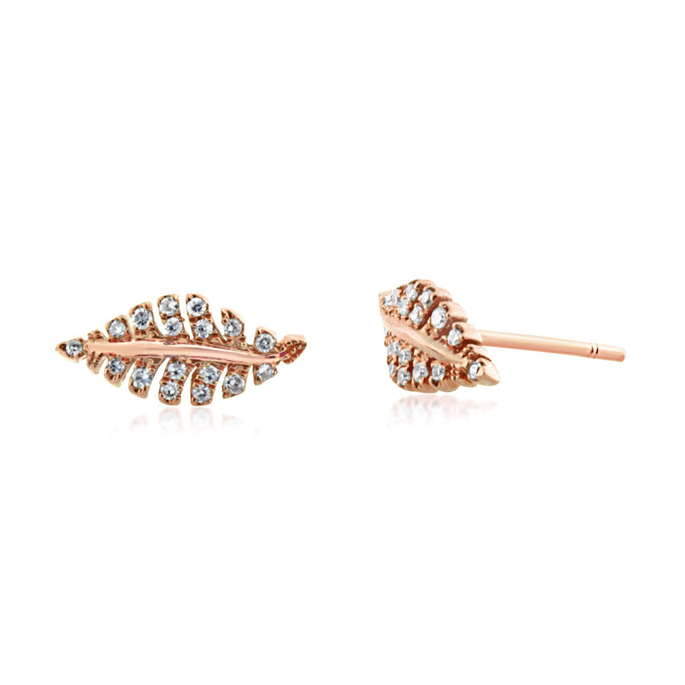 Diamond Leaf Earrings Rose Gold