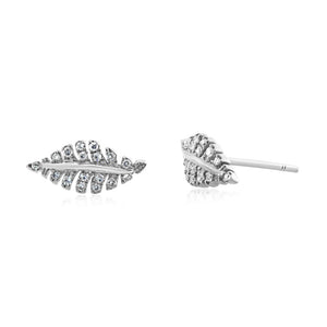 Diamond Leaf Earrings White Gold