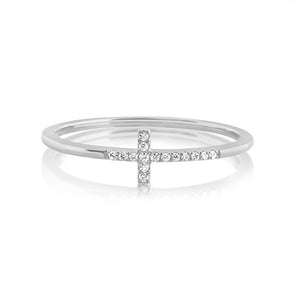 Diamond Cross Ring White Gold