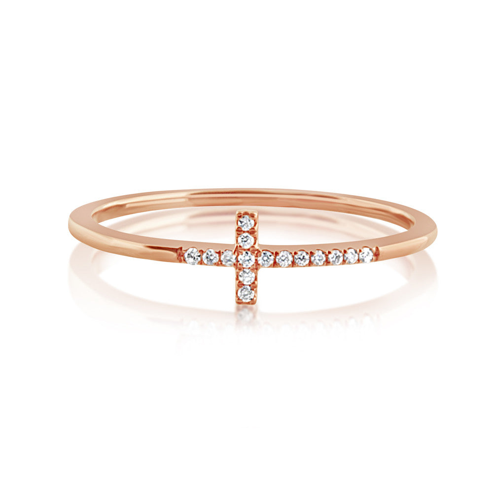 Diamond Cross Ring Rose Gold