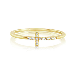 Diamond Cross Ring Yellow Gold