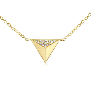 Diamond Triangle Pyramid Necklace Yellow Gold