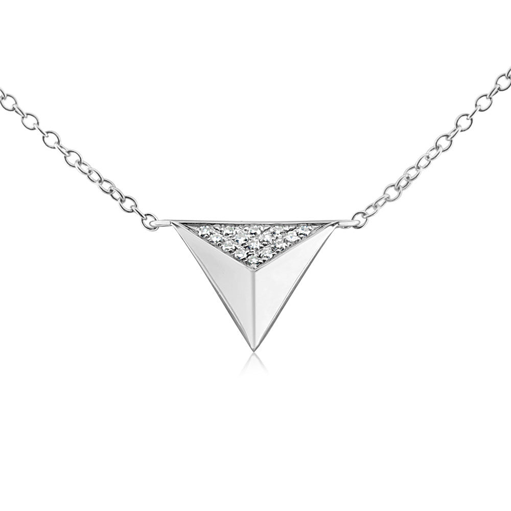 Diamond Triangle Pyramid Necklace White Gold