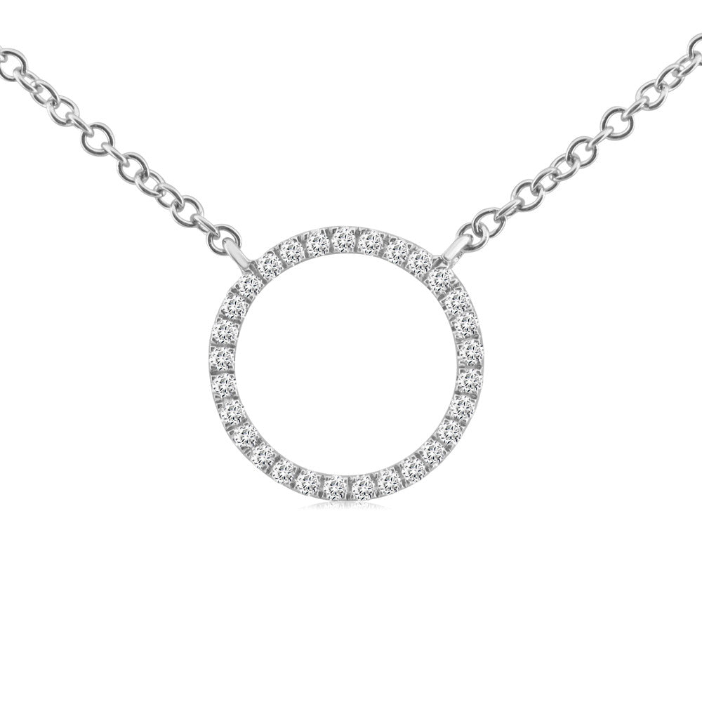 Diamond Circle Necklace White Gold