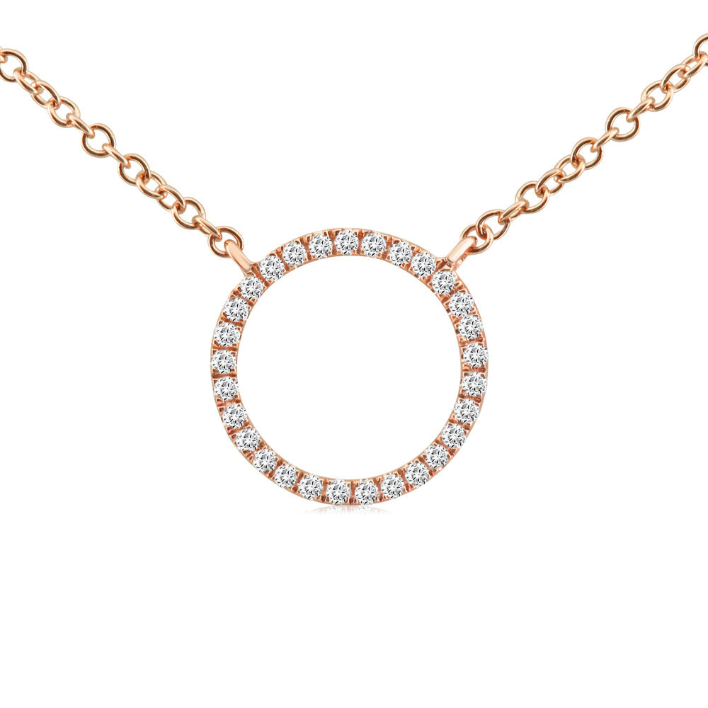 Diamond Circle Necklace Rose Gold