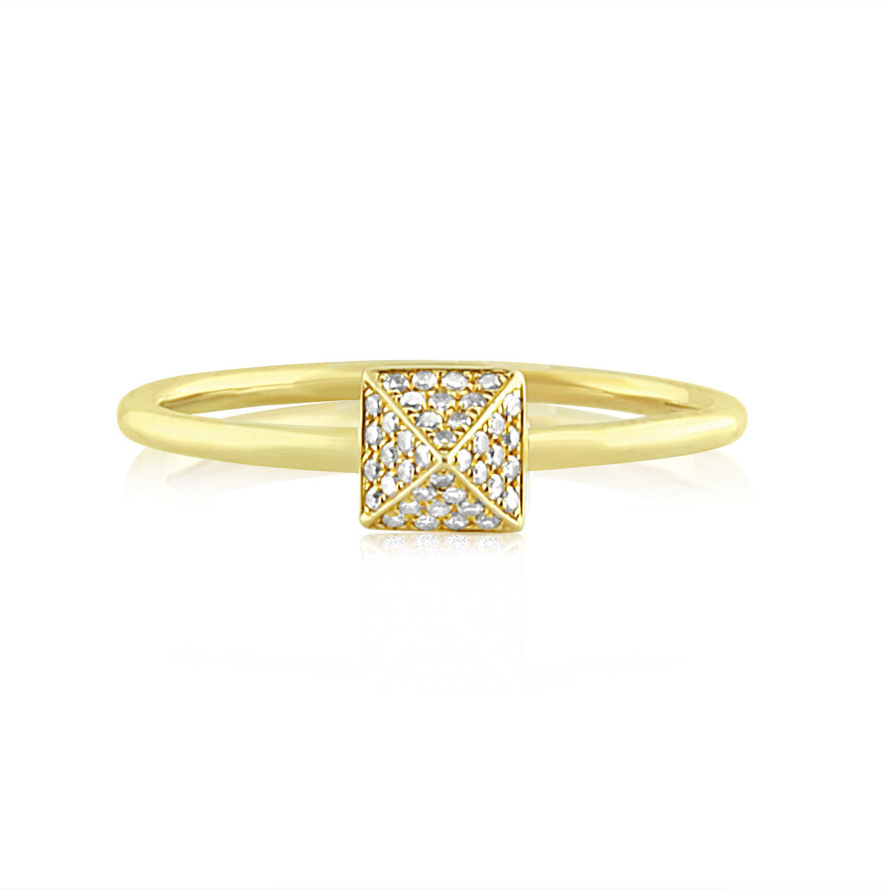 Diamond Pyramid Ring Yellow Gold