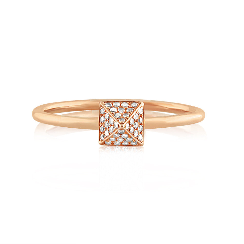 Diamond Pyramid Ring Rose Gold