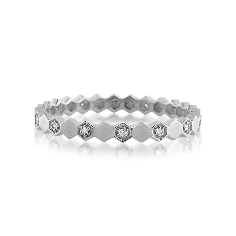 Diamond Hexagon Eternity Ring White Gold