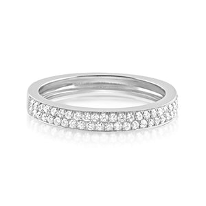 Diamond Double Row Band Ring White Gold