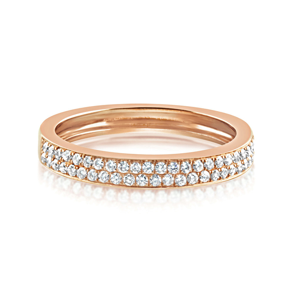 Diamond Double Row Band Ring Rose Gold