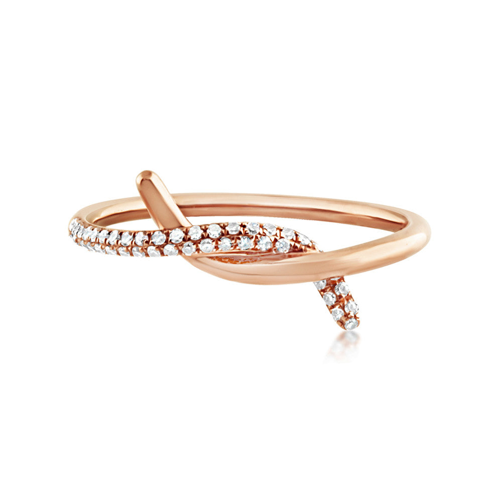 Diamond Knot Ring Rose Gold