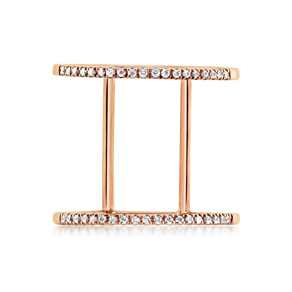 Diamond Double Band Ring Rose Gold
