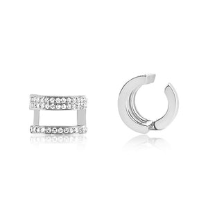 Diamond Helix 3 Row Ear Cuff White Gold