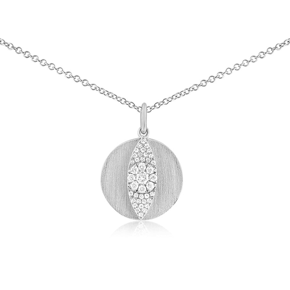 Diamond Evil Eye Disc Necklace White Gold