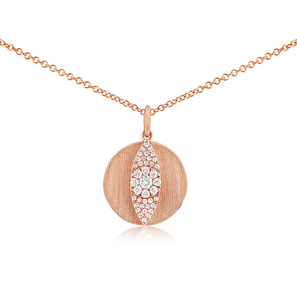 Diamond Evil Eye Disc Necklace Rose Gold