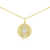 Diamond Evil Eye Disc Necklace Yellow Gold