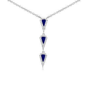 Lapis and Diamond Y Necklace White Gold