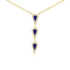 Lapis and Diamond Y Necklace Yellow Gold